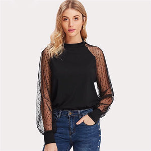 GOSSIP GIRL KOLLECTION-- Polka Dot Mesh Top