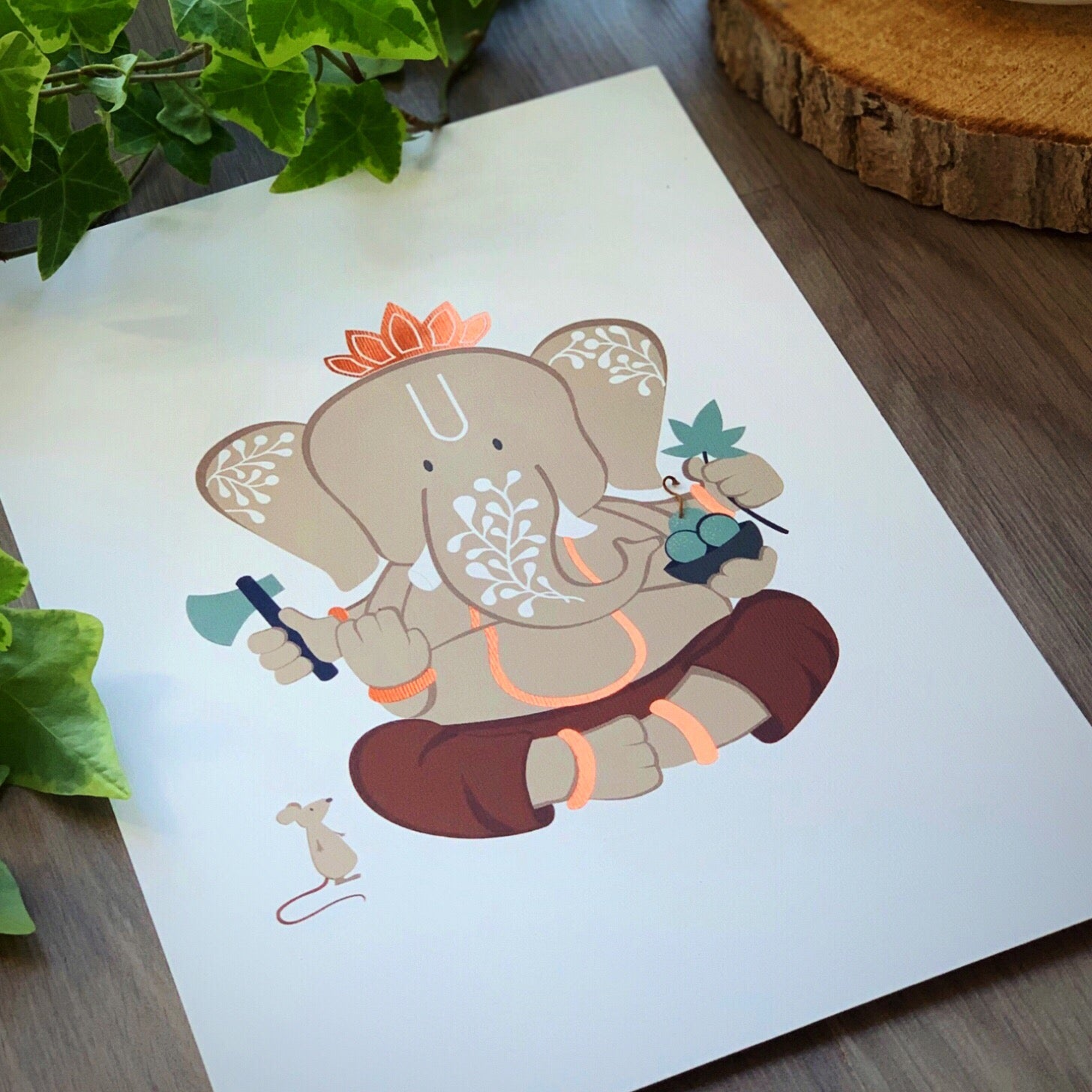 Art Print - Limited Edition Foiled Ganesh #2