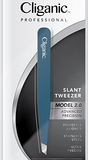 Cliganic Professional Eyebrow Tweezers Slant Tip | Precision Hair Tweezer for Men & Women - Stainless Steel Made