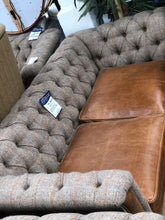 Load image into Gallery viewer, Arron 3 seater leather and harris tweed sofa