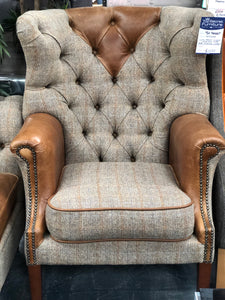 High back Arm Chair Harris Tweed and leather mix
