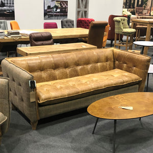 Heritage Hunting Lodge Tweed and Leather Sofa
