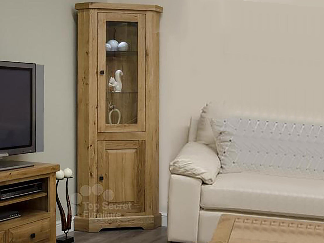 Dalton Corner Display Unit - 100% solid oak furniture