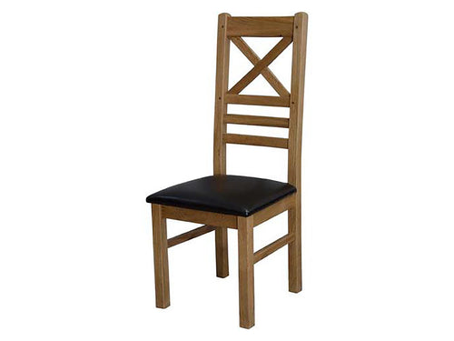 Dalton Cross Back Dining Chair - 100% solid oak furniture