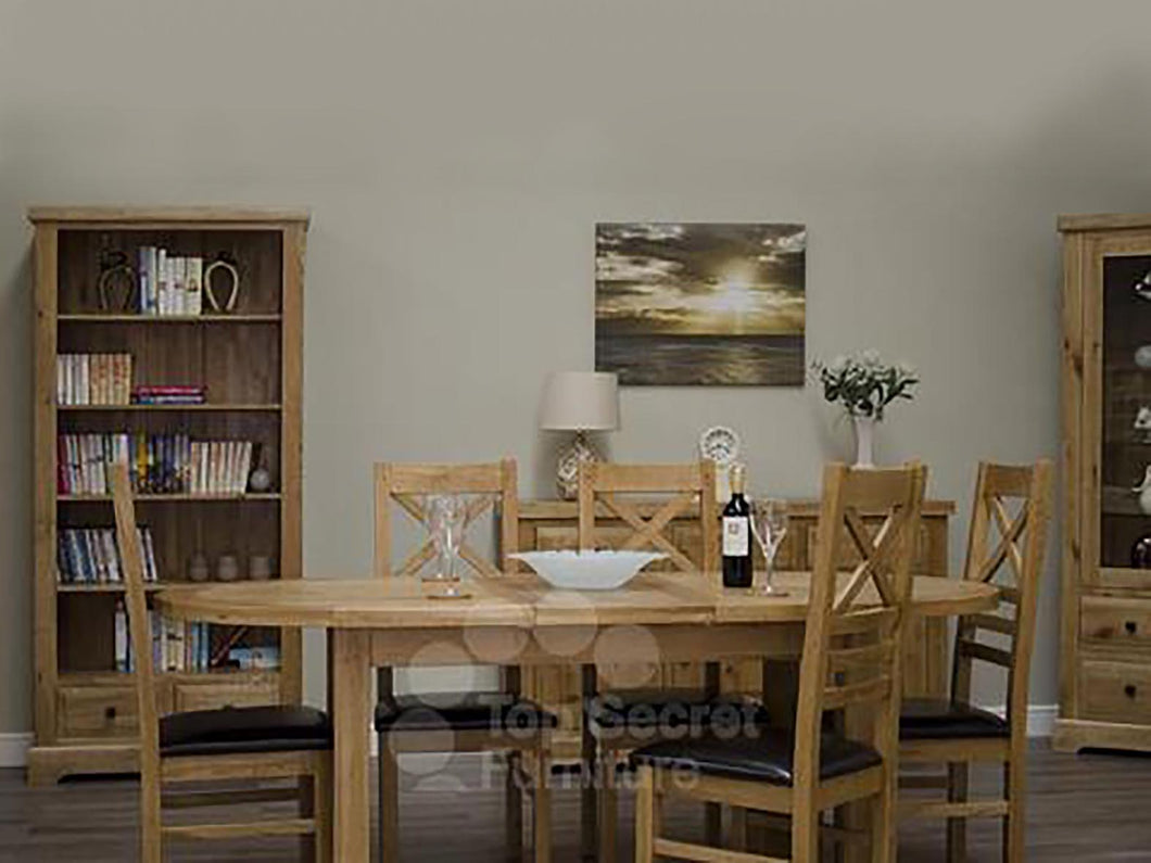 100% solid oak furniture Dalton Oval Extending Dining Table
