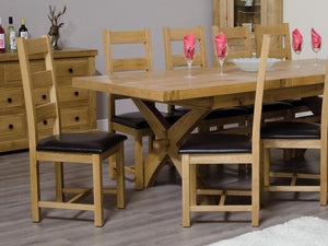 Dalton Rectangle Cross Leg Extending Oak Dining Table - 100% solid oak furniture