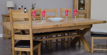 Load image into Gallery viewer, Dalton Rectangle Cross Leg Extending Oak Dining Table - 100% solid oak furniture