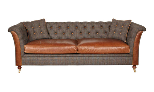 Granby 3 seater leather and harris tweed sofa