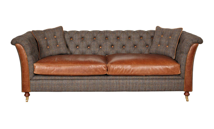 Arron 3 seater leather and harris tweed sofa