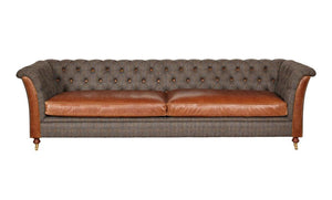 Arron 4 seater leather and harris tweed sofa