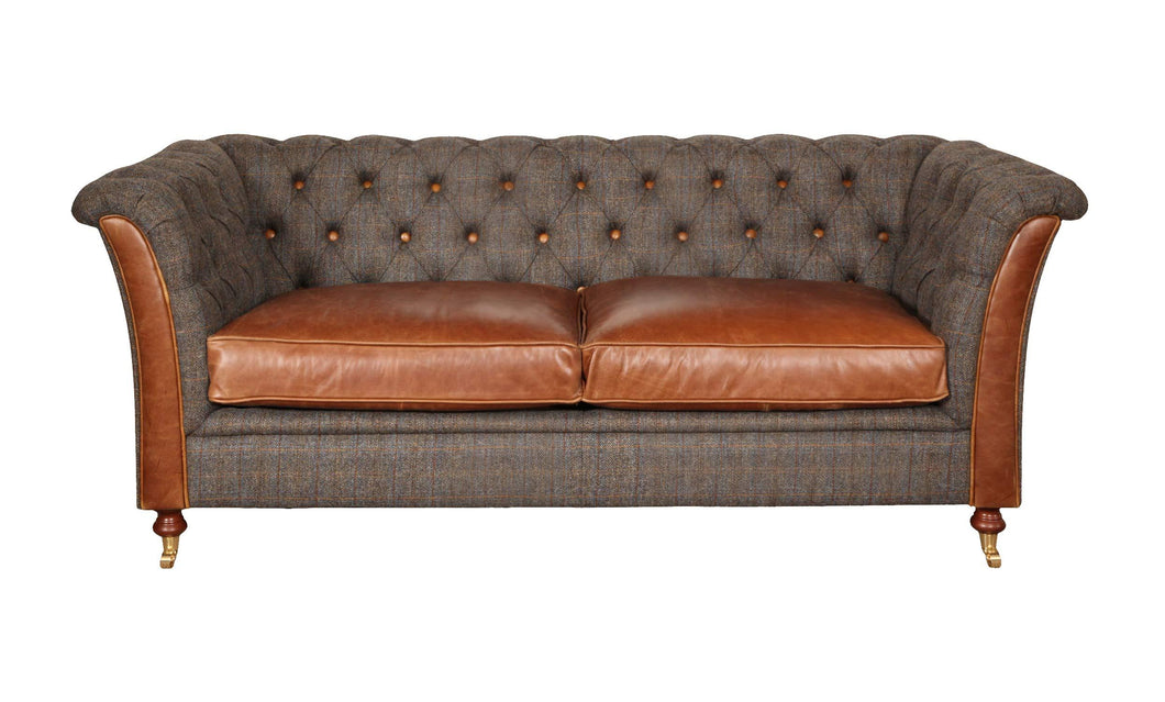 Granby 2 seater leather and harris tweed sofa