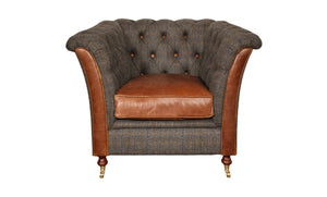 Granby Arm Chair in Leather and Harris Tweed