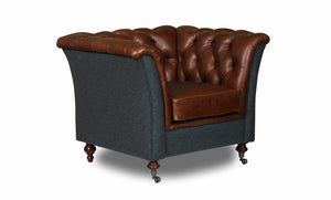 Arron Arm Chair in leather and harris tweed