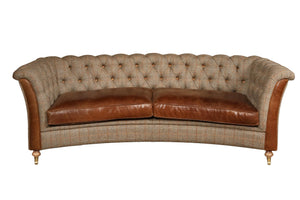 Granby Curved 3 seater leather and harris tweed sofa