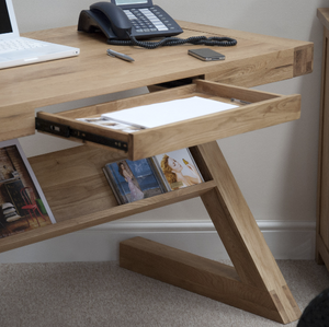 Z Office desk or Home desk with hidden drawer - Solid Oak Wood Range
