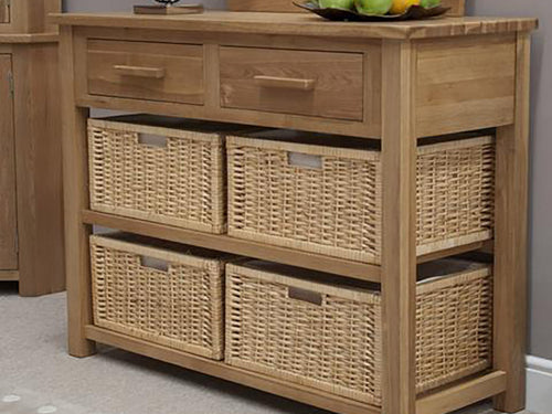 Oxford Basket Hall Console 100% Solid Oak from Top Secret Furniture