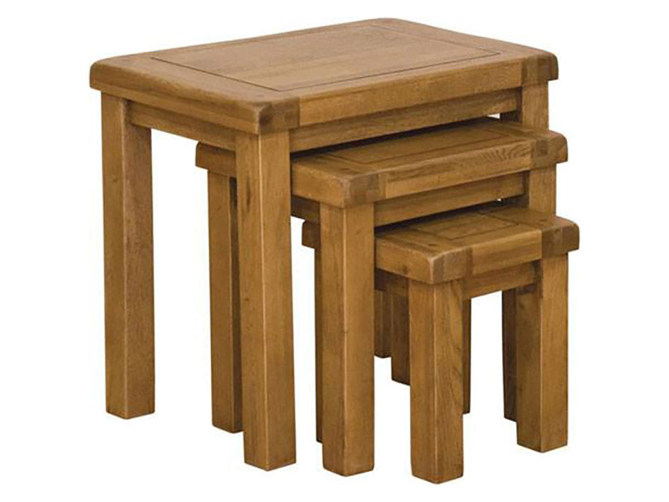 Rustic Nest of Tables - Solid Oak Furniture
