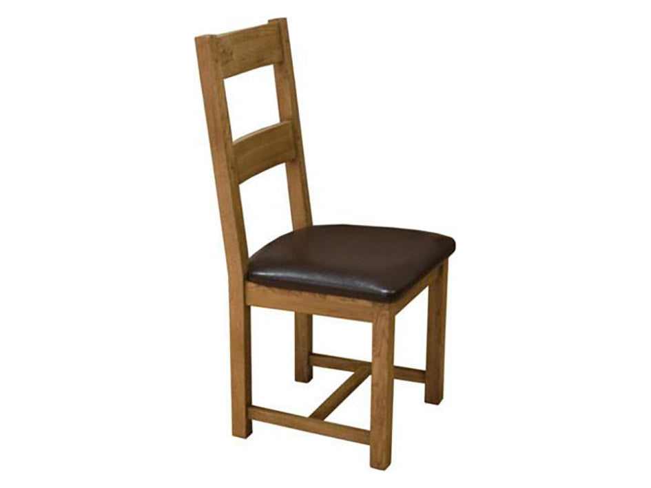 Rustic Oak Dining Chair with Leather Pad - Solid Oak Furniture