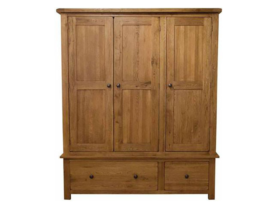 Rustic Triple Wardrobe - Solid Oak Furniture