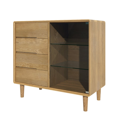 Nordic Scandic Oak Furniture small glazed chest from Top Secret Furniture