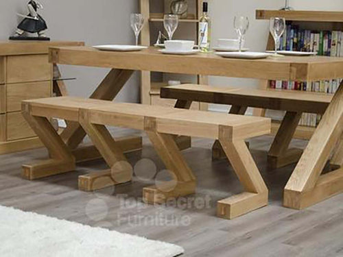 Z Range Large Bench - Solid Oak Wood Range