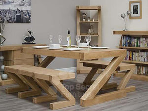 Z Range Large Dining Table - Solid Oak Wood Range