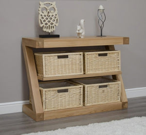 Z Range Basket Console Table - Solid Oak Wood Range