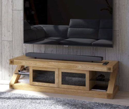 Z Range Glazed TV Unit - Solid Oak Wood Range