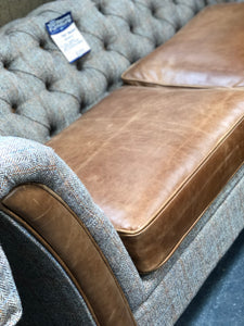 Arron 2 seater leather and harris tweed sofa