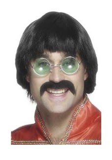 Smiffy's Black 70's Mersey Wig and Tash