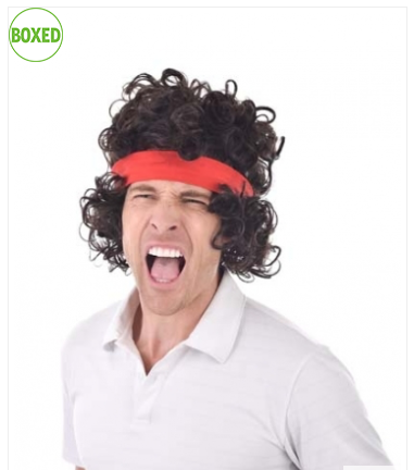 80's Tennis Aggro Wig With Headband