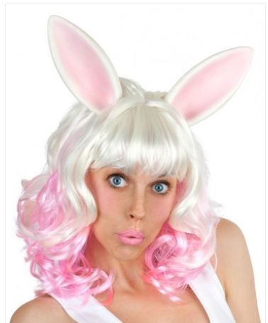 Tomfoolery Miss Bunny Pink/ White With Ears