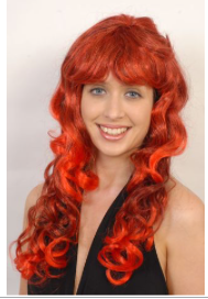 Interalia Long Red Curly Wig with Fringe