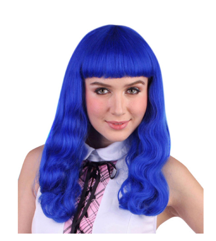Carnival Long Blue Wavy with Fringe Wig