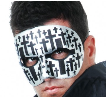 Tomfoolery MR X Silver with Black Crosses Mask