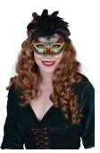 Tomfoolery Satine Black Eye Mask with Feathers