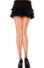 Music Legs Sheer Striped Heel Backseam Pantyhose