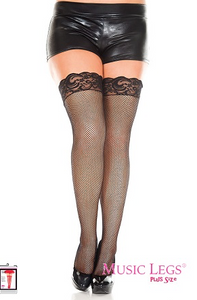 Music Legs Plus Size Fishnet Lace Top Thigh Highs