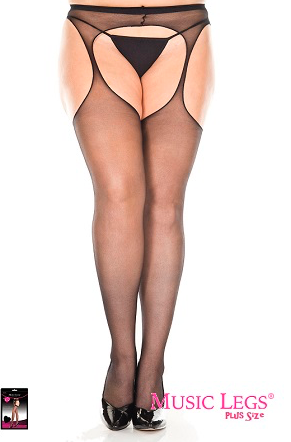 Music Legs Hosiery Plus Size All In One Sheer Suspender