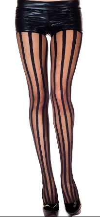 Music Legs Striped Tights Nude & Black