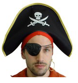 Tomfoolery Pirate Hat with Gold Trim