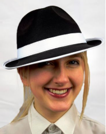 Interalia Black Gangster Hat with White Band