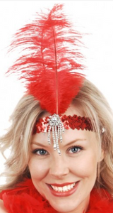 Tomfoolery 1920's Flapper Headband - Red