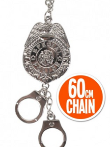 Tomfoolery Police Badge and Handcuffs Necklace