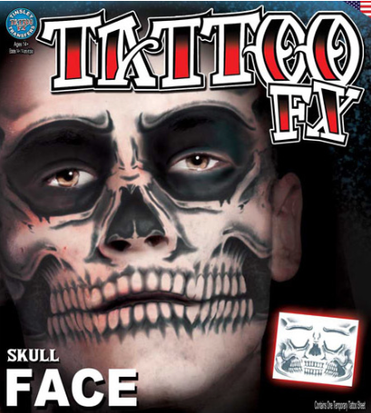 Carnival Skull Face Tattoo FX
