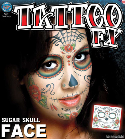 Carnival Sugar Skull Face Tattoo FX
