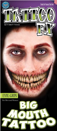 Carnival Big Mouth Evil Grin Tattoo FX