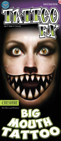 Carnival Big Mouth Cheshire Cat Tattoo FX