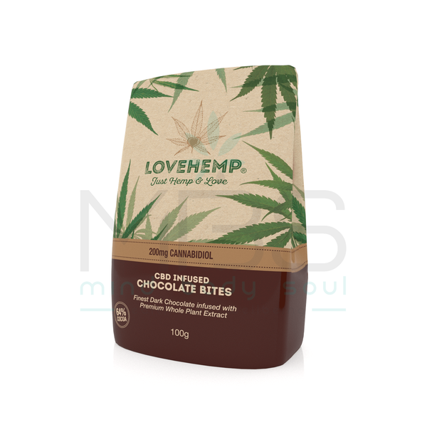 Love Hemp® CBD Chocolate Bites 200mg CBD – 100g - MBS Health & Wellbeing