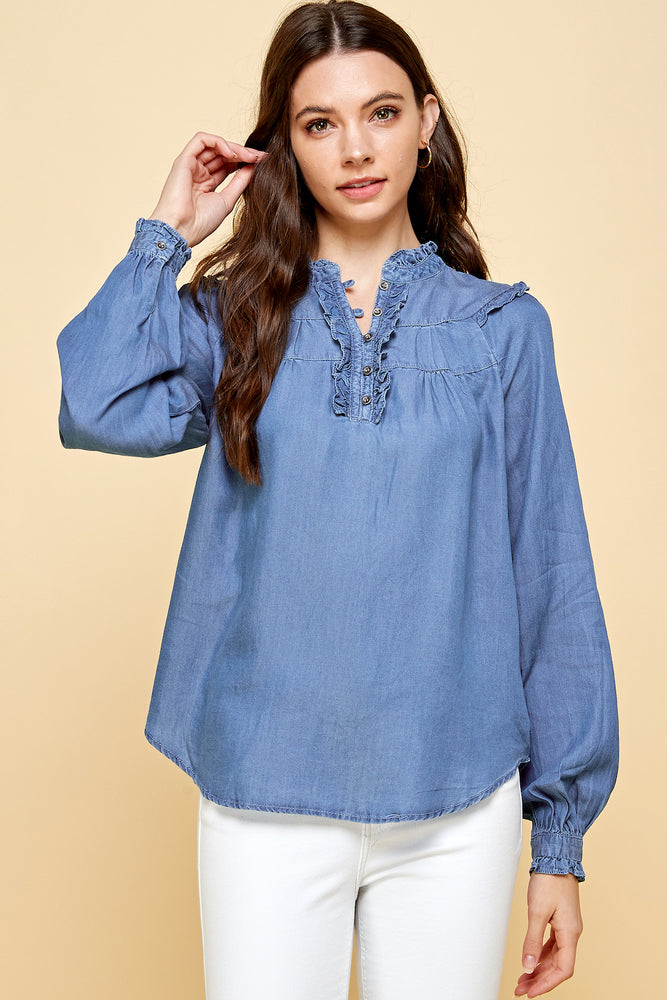[Blue Age] Mock Neck Frill Detail Tencel Top